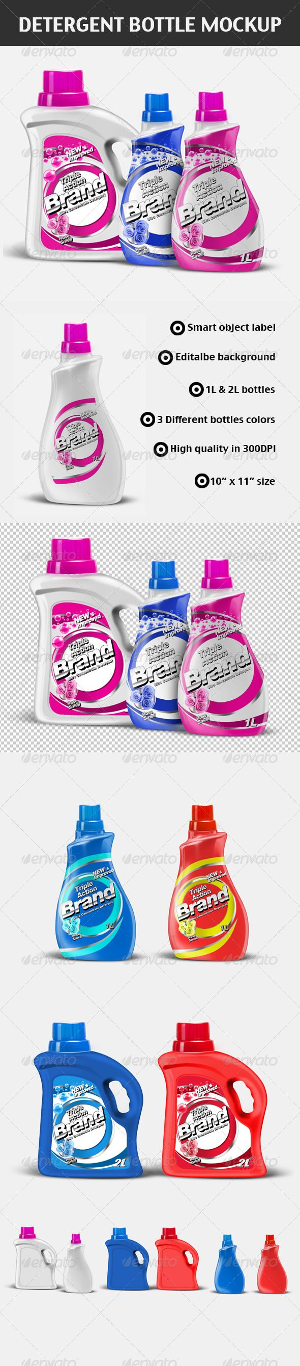 Detergent Bottles Mock-up #GraphicRiver Description Professional detergent bottle set mock up with high quality (3300×3000), fine details, clear background and smart objects label. 2 bottles (2L and 1L) 3 different colours (white, red, blue) and easy to change color 300DPI 3300×3000 Note: The label on the bottle is just a sample to show how does it work It is not included in this package If you want any help, please feel free to contact me! Created: 26October12 GraphicsFilesIncluded…