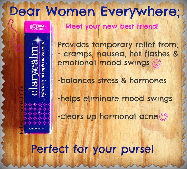 Women's best friend!!!! Clary Calm ...if you suffer from PMS, cramps, heavy periods, and menopause related symptoms, this oil blend is for you. It helps to balance all of those issues. It may shorten your cycle too. Start using it as soon as PMS comes on. You'll feel your mood change so you're ready to conquer whatever gets in your way.
