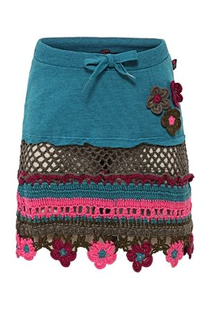 skirt- take sweat skirt and a crochet cloth piece...transform goodwill finds to fashionably updated version