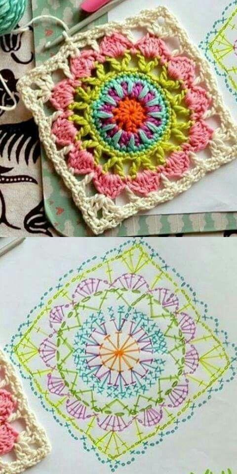 Chart to make a beautiful square crochet mandala.