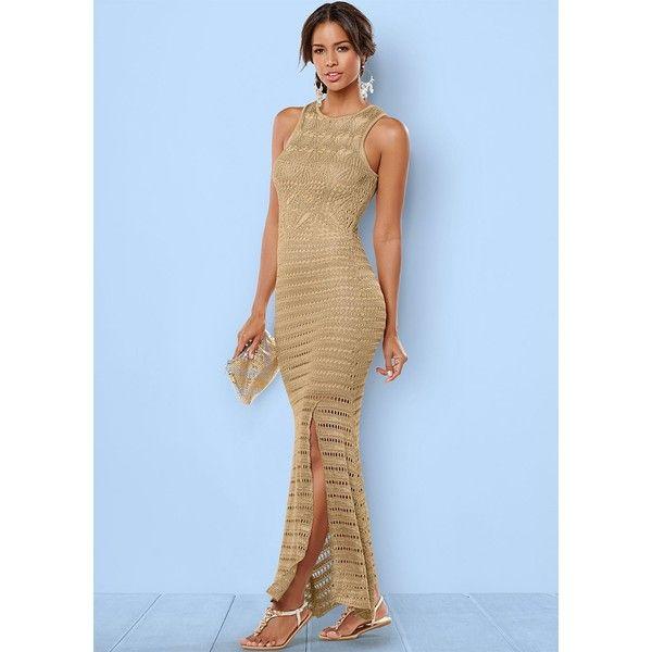 Venus Women's Gold Crochet Sweater Dress ($75) ❤ liked on Polyvore featuring dresses, yellow, blue dress, yellow dress, blue gold dress, maxi dresses and yellow summer dress