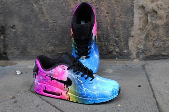 Personalizzato Nike Air Max 90 Funky Galaxy colori Graffiti