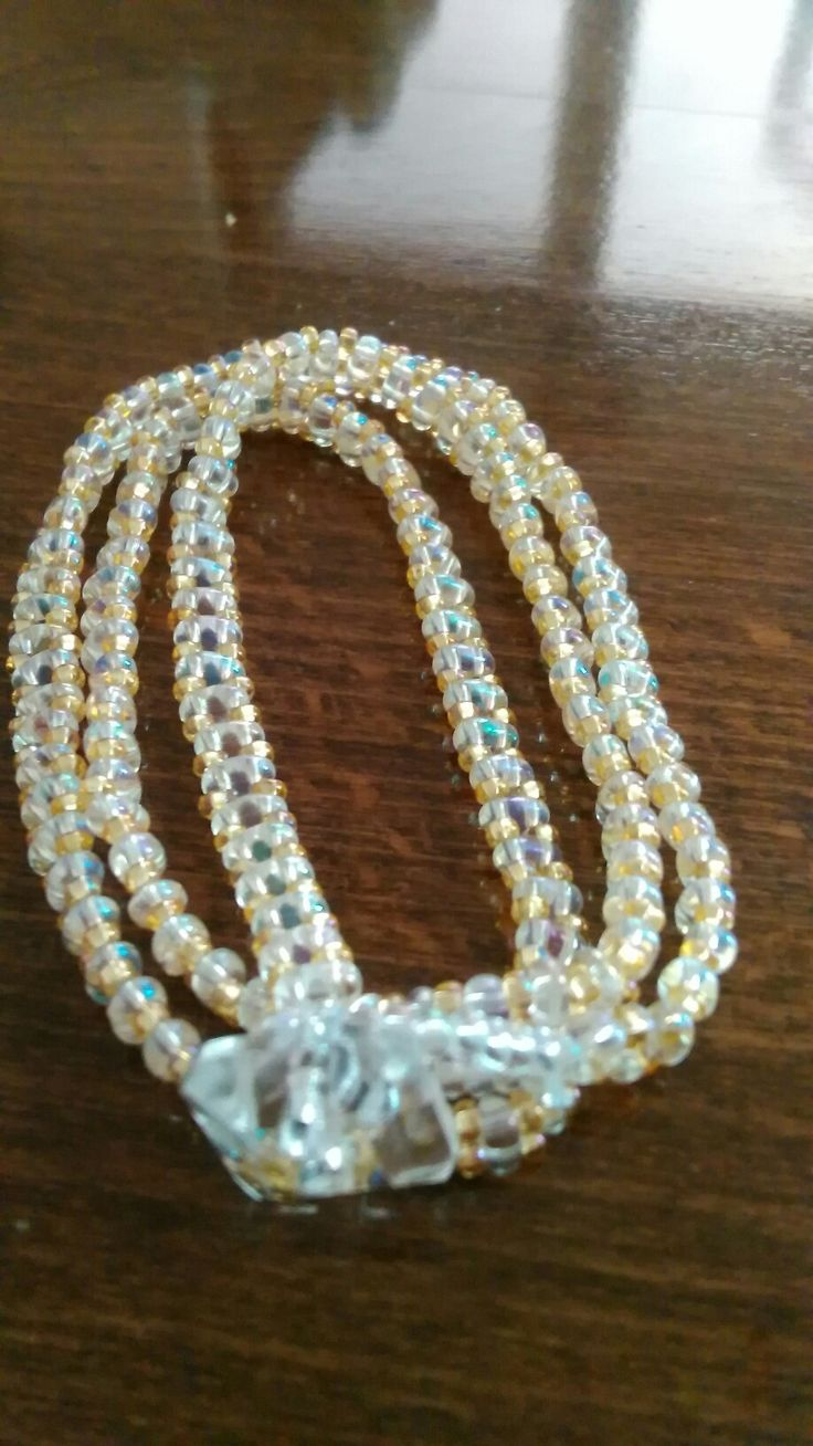 Wrap bracelet,preciosa twin crystal AB.