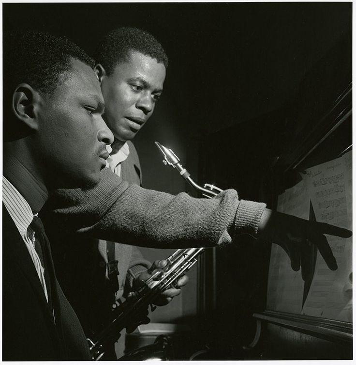 "Wayne Shorter and McCoy Tyner at ""Night Dreamer"" sessions, Van Gelder Studio [29 April 1964] by Francis Wolff"