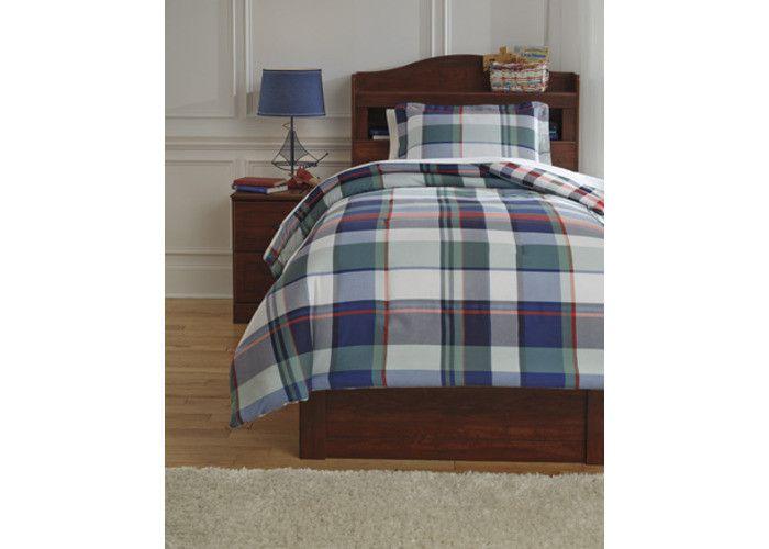 Q773001T Mannan Twin Comforter Set - Plaid - Free Shipping!