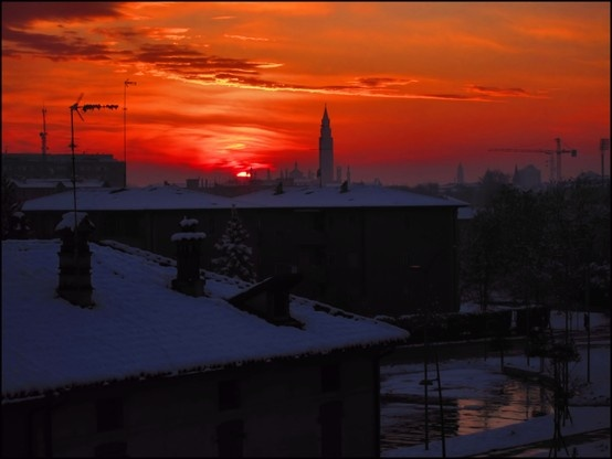 Cremona, Italy, Hometown, Sunset, The Sky is Burning