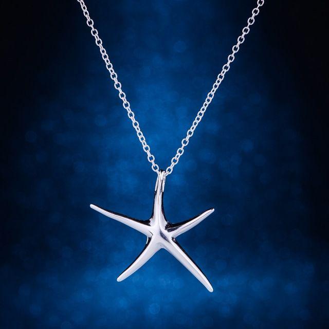 Морская звезда блестящий свет посеребренная ожерелье - серебристо-ювелирные Pandant мода ювелирных изделий 925-sterling-silver HDUWOYNJ