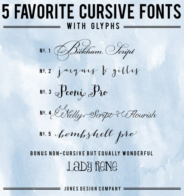 Favorite cursive fonts with glyphs and how to use them