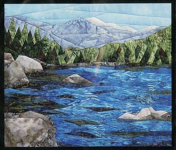 Tranquil Lake England Design Mountain by AliceInStitchesArts