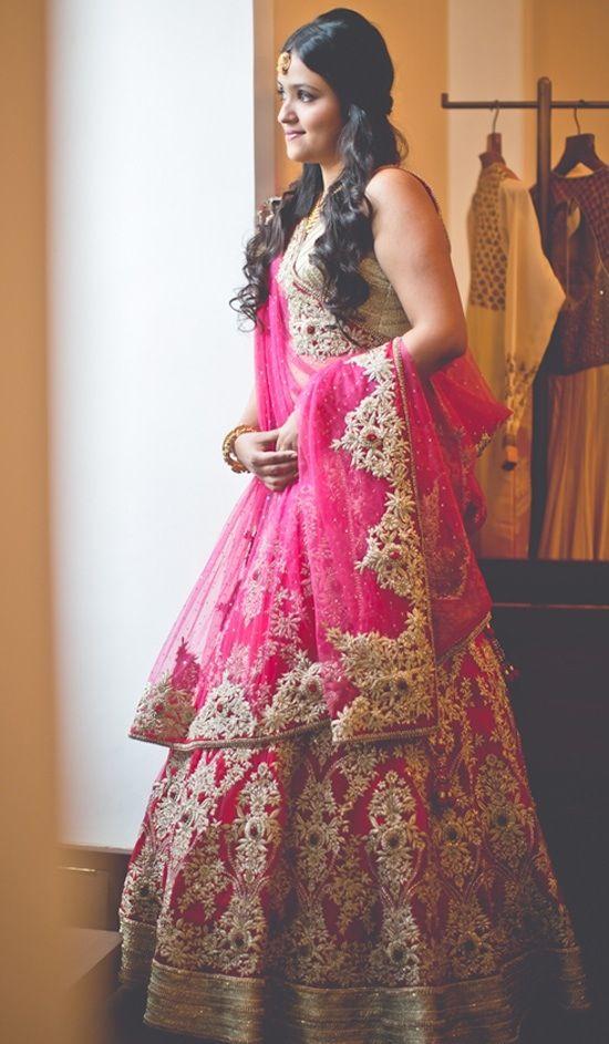Bright pink bridal lehenga.
