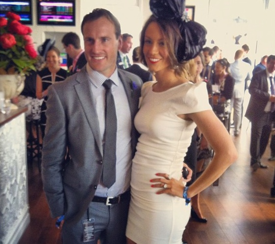Jude Bolton looking sharp at the Melbourne Spring Racing carnival in his Briggins suit.