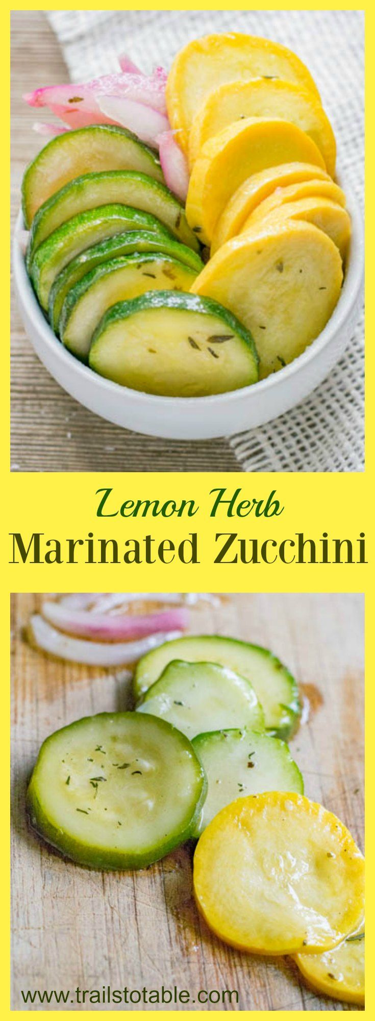 Lemon Herb Marinated Zucchini. Here is a great way to use excess zucchini and squash in the summer! Keep the marinated vegetables in a jar in the fridge, and use like refrigerator pickles! So tasty!
