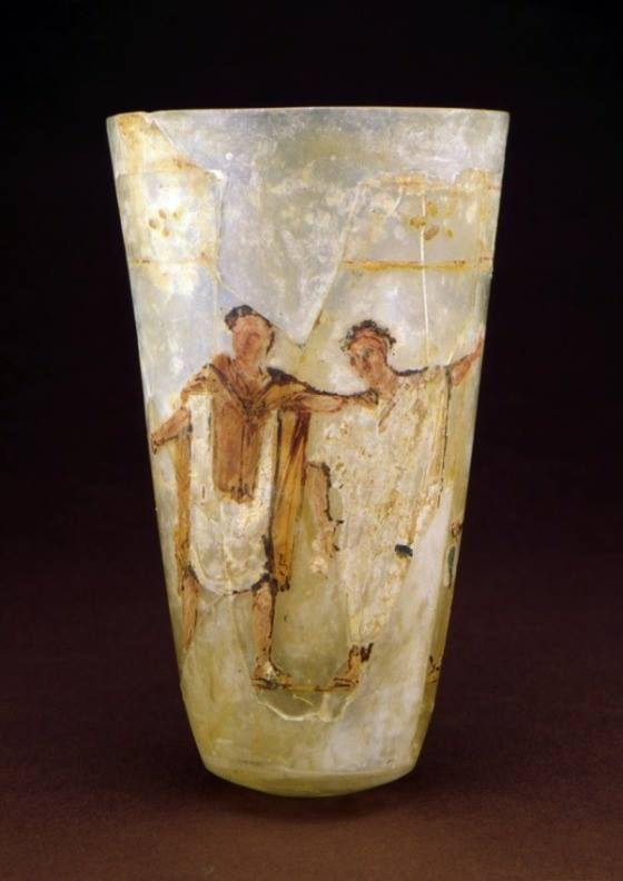 Beaker with a Theatrical Scene. Roman Empire ~ 50-100 B.C.