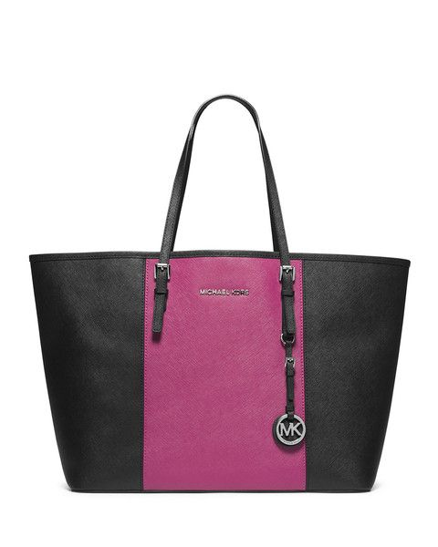 MICHAEL Michael Kors Medium Center-Stripe Jet Set Travel Tote in Deep Pink & Black