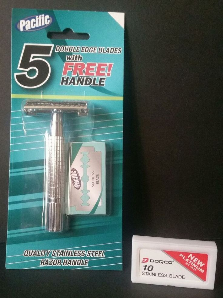 Pacific Safety Razor Stainless Steel Handle With 15 Stainless Blades New #Pacific
