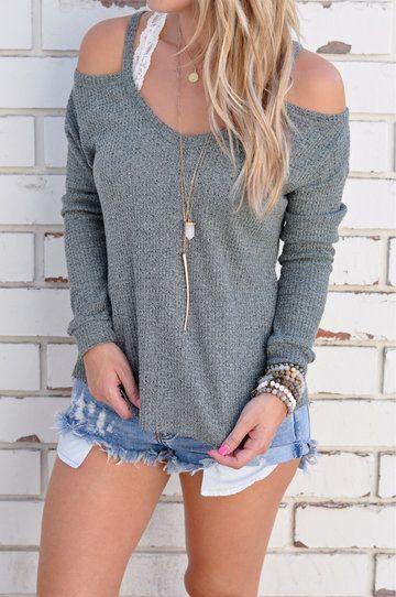 Casual Thin Shoulder Cold Shoulder Long Sleeve T-shirt - US$21.95 -YOINS