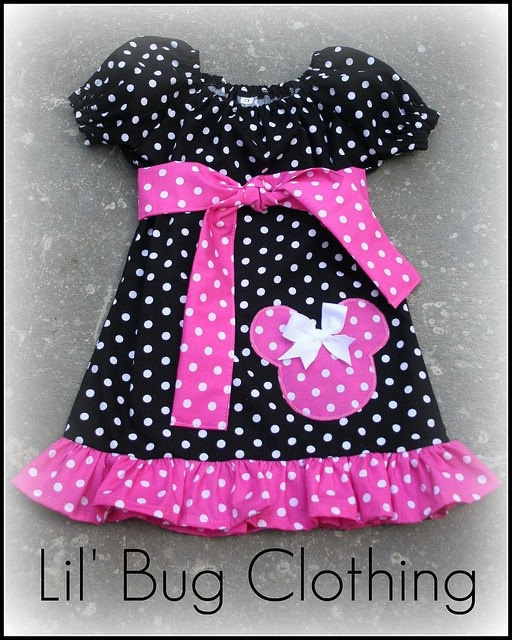 Custom Boutique Clothing Pink White Polka And Black Dots  Dot Minnie Mouse Peasant Dress on Etsy, $39.99