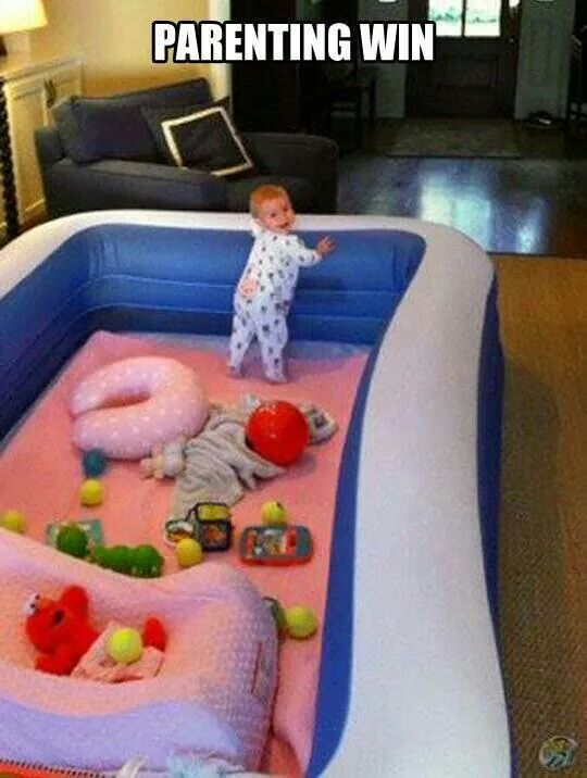 Blow up pool for baby. Genuis!! May even be big enough for a bigger-kid ball pit. (But know none of the balls would stay IN it.....)