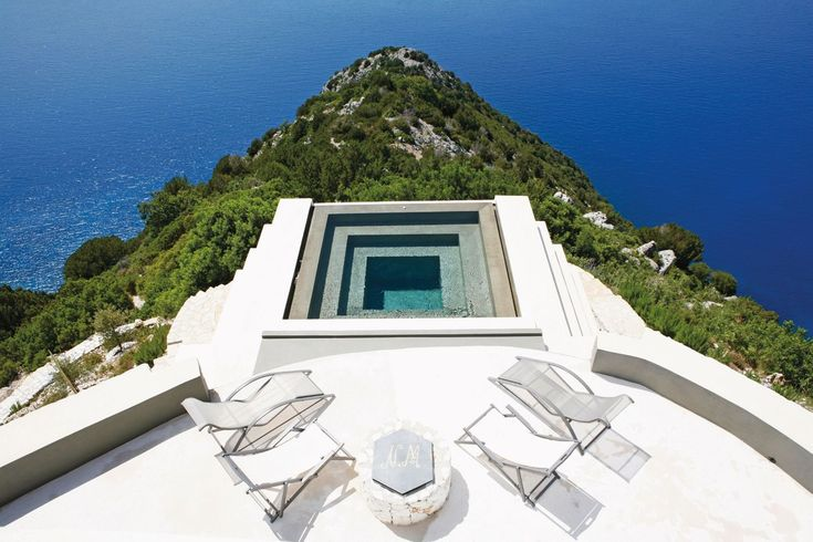 "Take the plunge at [b][link url=""http://www.villaalthea.it/""]Villa Althea[/link][/b] on Kefalonia and find yourself suspended 300 metres above Myrtos beach. [link url=""http://www.cntraveller.com/photos/photo-galleries/amazing-swimming-pools/viewgallery/1300996""][/link]"