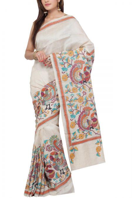Ivory Mayur Kantha Tussar Silk Saree