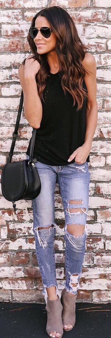 #winter #outfits black tank top and distressed blue denim pants