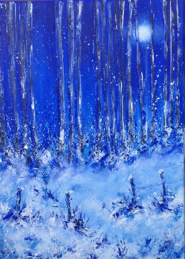 Snowy Wood at Night. See more at https://www.artfinder.com/tina-hiles