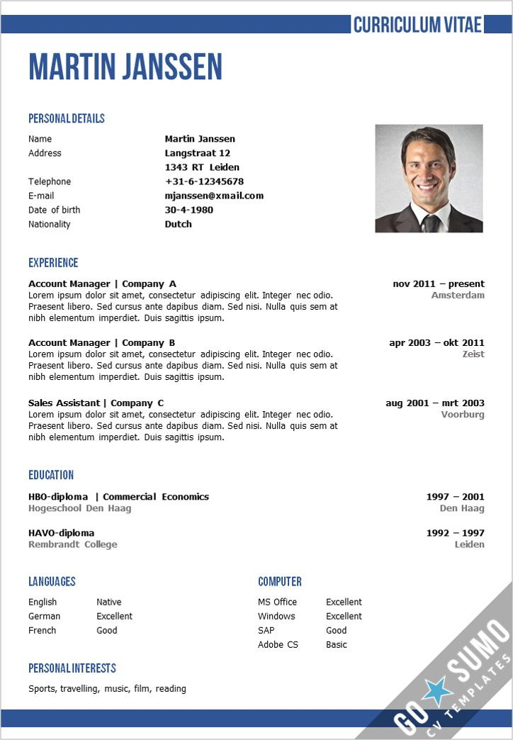 Business cv template in Word and PowerPoint + matching cover - resume or curriculum vitae