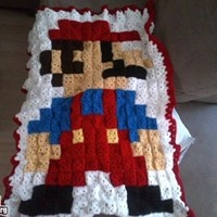 Super Mario Afghan - I am SO making thisCrochet Blankets, Crochet Ideas, Crafts Ideas, Mario Crochet, Granny Squares, Geek Crafts, Super Mario, 8Bit Mario, Mario Blankets
