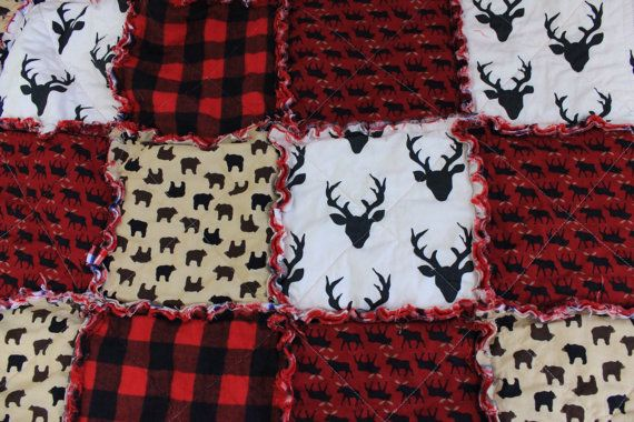 Baby Rag Quilt Baby Crib Quilt Plaid Quilt Deer Bear by RozonsRags