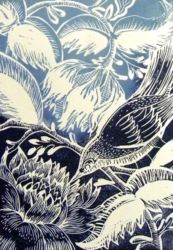 Winter Bird Original Lino cut print  £45.00  Amanda Colville