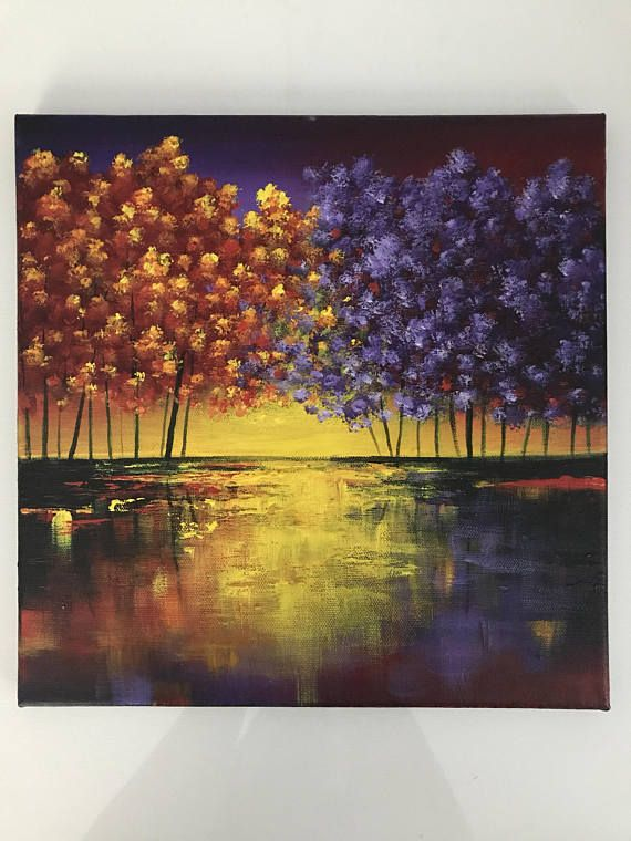 Small canvas wall art abstract trees painting , abstract