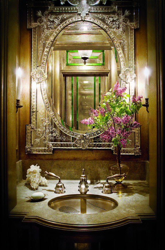 Im In LOVE!!! I love this vintage chic bathroom! The mirror is GORGEOUS!
