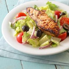 Served on its own or in a salad, wrap, or soup, salmon is a healthy and delicious protein choice that is low carb and heart-healthy. There are many ways to prepare the omega-3-rich fish -- baked, grilled, poached -- so the recipe options are endless. To help get you started, we've compiled our favorite healthy salmon recipes.