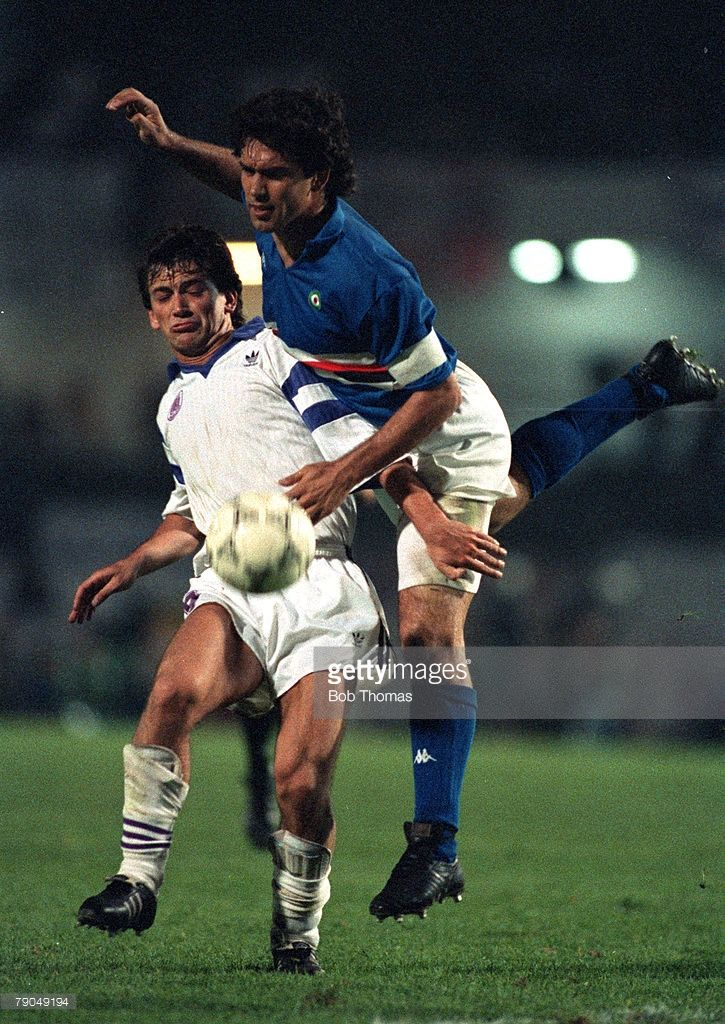 Football, UEFA Cup Winners Cup Final, Gothenburg, Sweden, 10th May 1990, Sampdoria 2 v Anderlecht 0 (after extra time), Anderlecht's Marc Degryse is challenged by Sampdoria captain Luca Pellegrini