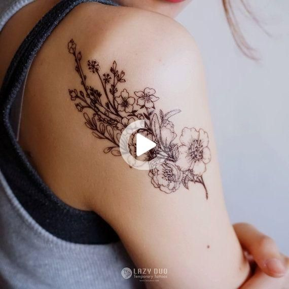 Realistic Flower Tattoos Delicate Watercolor Flower Tattoos Rose Tattoos Wedding Party Ideas In 2020 Flower Wrist Tattoos Realistic Flower Tattoo Tattoo Set