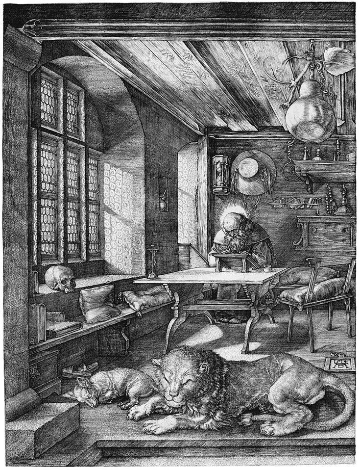 São Jerônimo em seu Estudo. 1514. Gravura. Artista: Albrecht Dürer. Encontra-se no Kupferstichkabinett em Dresden, Alemanha.  Fonte: www.deutschefotothek.de