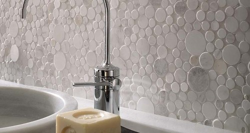 Porcelanosa Mosaico Moon Beige Sandstone wall tiles - modern - bathroom tile - san francisco - CheaperFloors