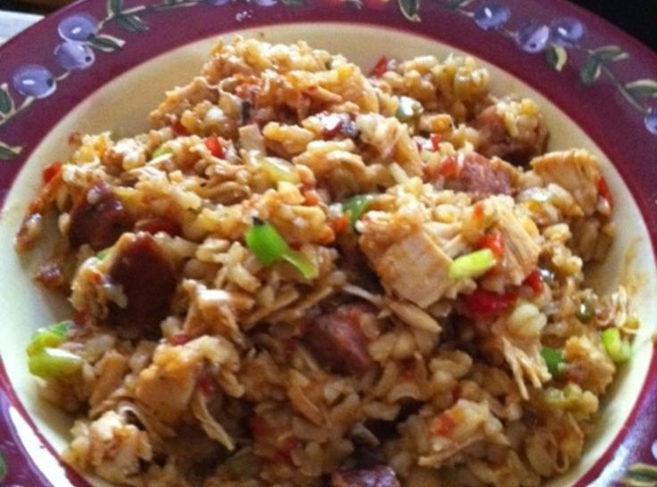 Shut the FFFront Door - Sausage/ Chicken Jambalaya  I added a little Cajun Spice.