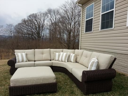 Hampton Bay Mill Valley 4Piece Patio Sectional Set with Parchment Cushions  Patio furniture