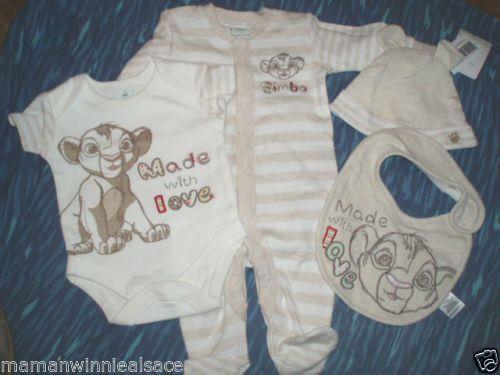 pyjama-body-bonnet-bavoir-coton-disney-simba-roi-lion-taille-naissance-unisexe