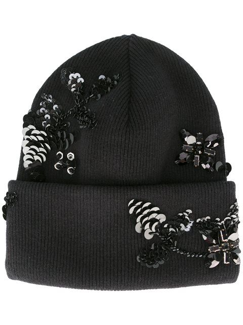 Dsquared2 шапка с цветочным украшением из пайеток