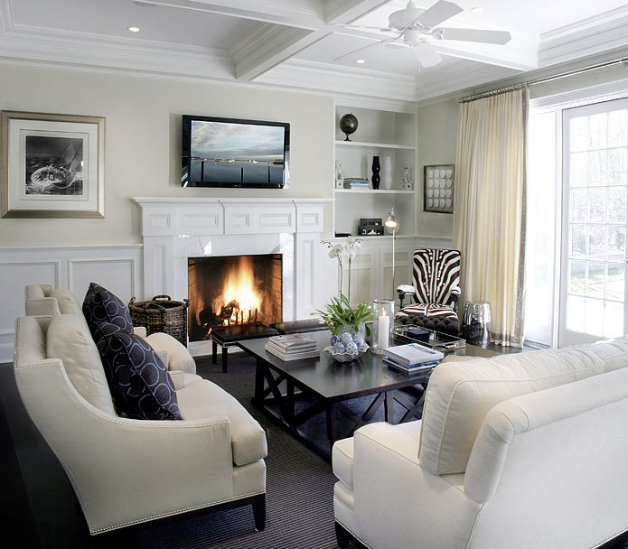 ivory transitional living room design