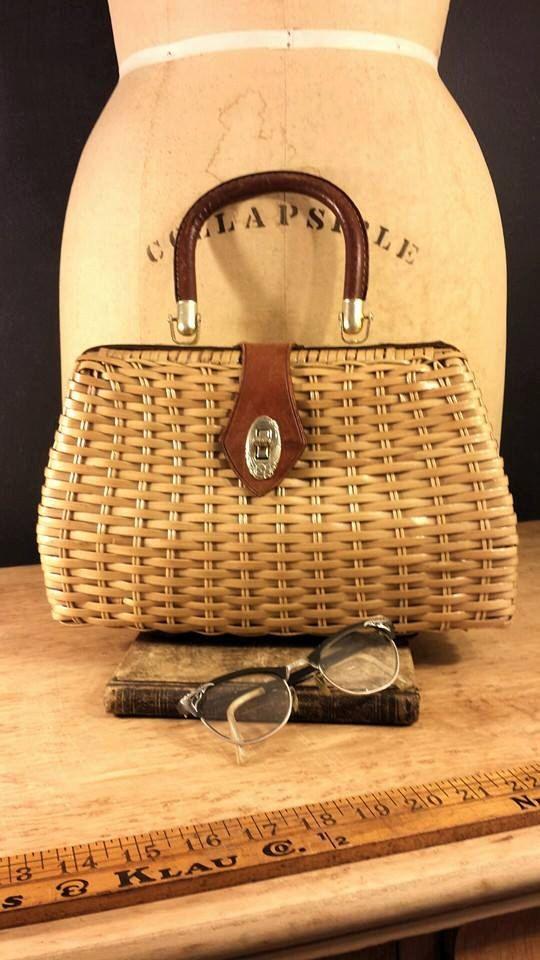 Mid Century Wicker Purse, Retro Mr Simon Straw Bag, Vintage Spring Handbag by ElisabethMacBeth on Etsy