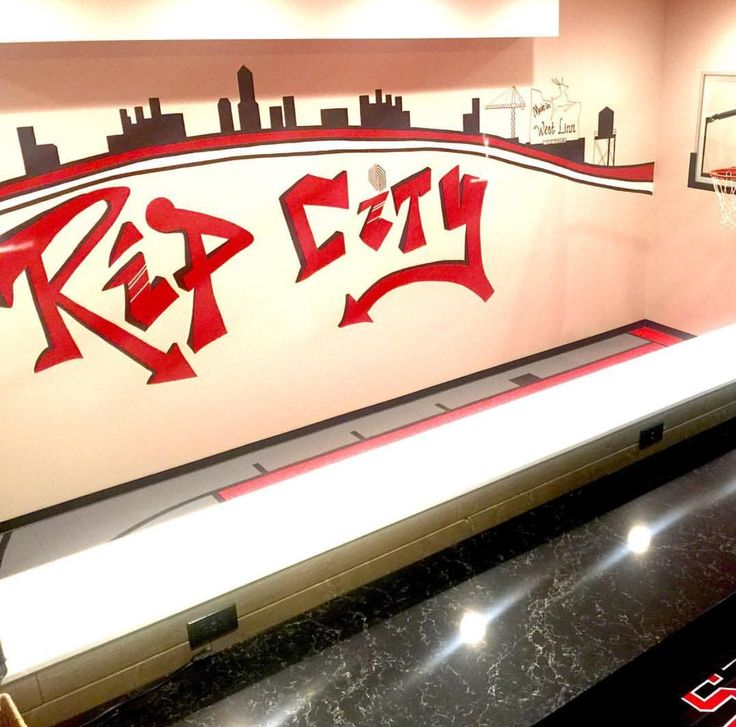 Modern urban Farmhouse, indoor sports court, indoor basketball court, man cave, teen space, playroom, tv room, rock climbing wall, kid space, kid room, Trail Blazers, basement, Rex room, indoor gym, hoops, mural, graffiti, drinking fountain