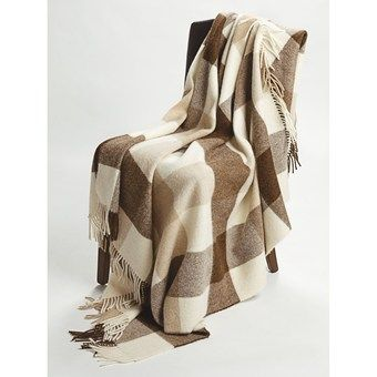Johnstons of Elgin Alpaca-Lambswool Throw Blanket - Limited Edition, Block Check in Natural