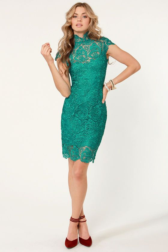 Blaque Label Dress - Teal Dress - Lace Dress - $154.00 oh, I wish there were an occasion that warranted a dress like this.
