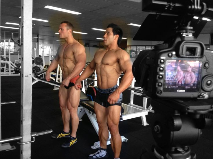 The boys work on their poses. Filming the behind the scenes of an #IronMan Magazine Australia cover shoot, with world-class #bodybuilders thanks to Gen-Tec #nutrition, in #Melbourne.