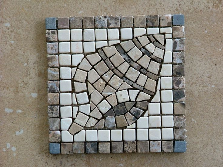 One of a series of shell mosaic tiles for a bathroom. Marble