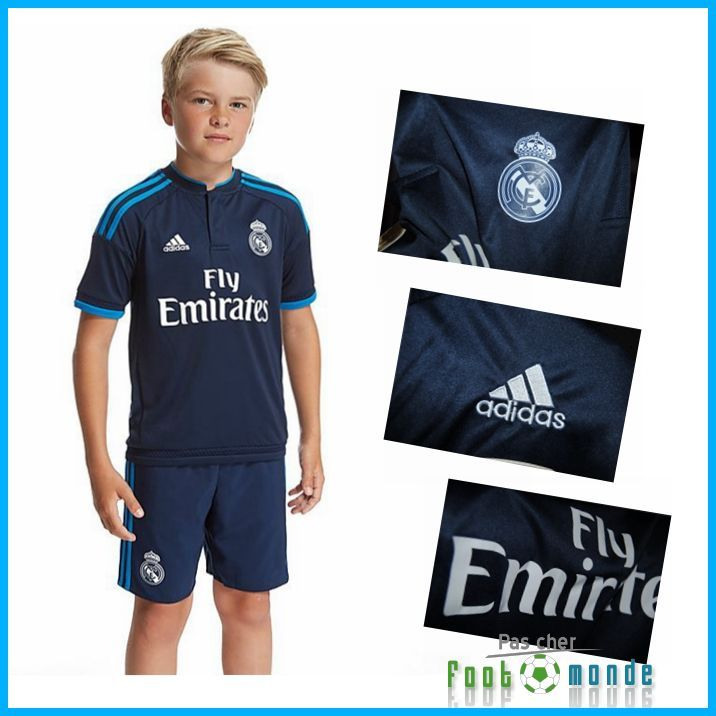 nouveau maillot foot real madrid enfant third 2015 2016 avec flocage survetement foot pas cher. Black Bedroom Furniture Sets. Home Design Ideas
