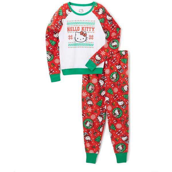 Age Group Ltd. Hello Kitty Holiday Fleece Pajama Set ($17) ❤ liked on Polyvore featuring plus size women's fashion, plus size clothing, plus size intimates, plus size sleepwear, plus size pajamas, plus size, plus size pjs, holiday pajamas, plus size pajama sets and plus size hello kitty pajamas